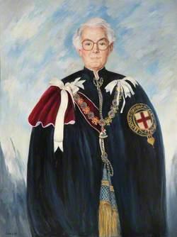 Falklands Portraits: Edward Arthur Alexander Shackleton (1911–1994), Baron Shackleton, KG, AC, OBE, PC, FRS, FRGS, in Garter Robes