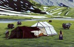 Landscape with Women and Yaks