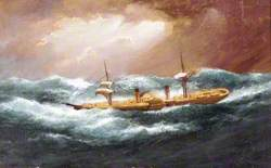 Paddle Steamer, Night Scene, Insc. Scotia