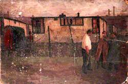 Three Figures and Prefabricated Buildings: Laird Street, North End, Birkenhead, Wirral