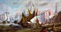 Liverpool Dock Scene with Warehouses