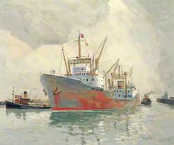 Cargo Vessel Entering Yarmouth Haven