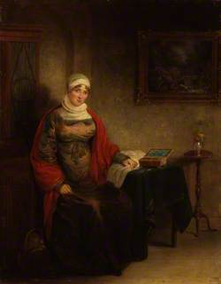Mrs John Crome Seated at a Table by an Open Work Box