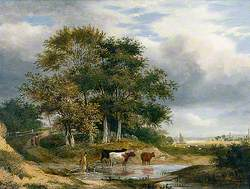 Landscape with Cows in a Pool by a Clump of Trees