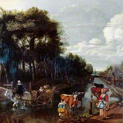 Landscape with a Road, a Cart and Figures