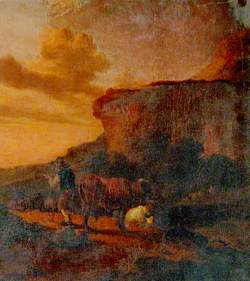Cowherd with Cattle on a Path beneath a Cliff
