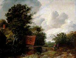 A Sluice, Wooded Landscape with Figures on a Path