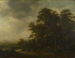 A Woody Landscape with a Stag Hunt