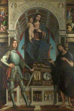 The Virgin and Child Enthroned between a Soldier Saint, and Saint John the Baptist (La Pala Strozzi)