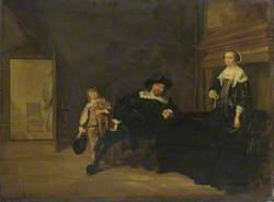Portrait of a Man, a Woman and a Boy in a Room