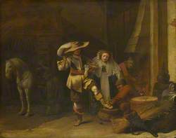 A Man and a Woman in a Stableyard