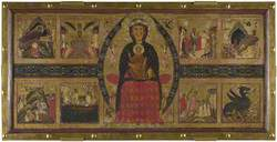 The Virgin and Child Enthroned, with Scenes of the Nativity and the Lives of the Saints