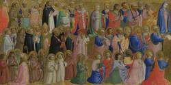 The Virgin Mary with the Apostles and Other Saints: Inner Left Predella Panel