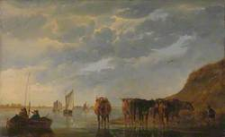 A Herdsman with Five Cows by a River