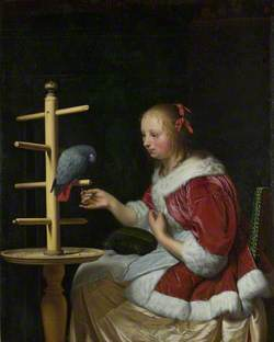 A Woman in a Red Jacket feeding a Parrot