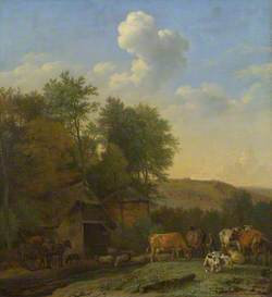 A Landscape with Cows, Sheep and Horses by a Barn