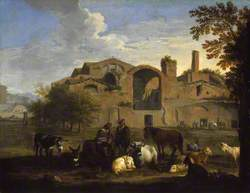 Landscape with Herdsmen and Animals in front of the Baths of Diocletian, Rome