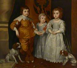 Charles II (1630–1685), King of Scots (1649–1685), King of England and Ireland (1660–1685), with James, Duke of York (1633–1701), Later James VII and II, and Princess Mary (1631–1660)