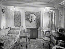 Sitting room of first class cabine de luxe, decorated in a different style