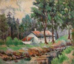 Wooded River Landscape with Cottage