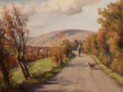 Country Road with a Man and Dog