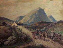 Mountain Landscape with a Donkey Cart and Figures
