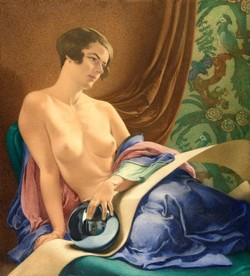 Nude with Blue Coverlets and a Glass Ball