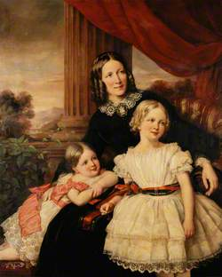 Group Portrait of a Mother and Two Daughters