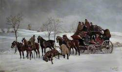 Mail Coach in the Snow with a Fallen Leader