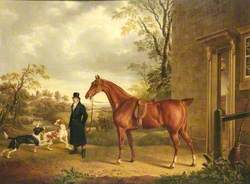 A Chestnut Hunter with a Groom in a Landscape