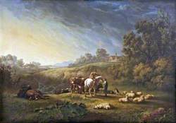 Landscape with Cattle and Sheep and a Rider in Conversation with a Herdsman