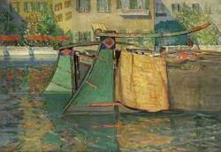 Umbrellas and Barges, Venice