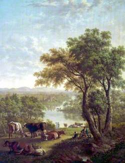 Man Reading under a Tree in a Landscape