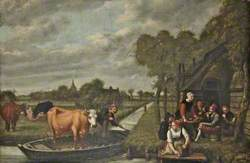 Landscape with a Cow in a Boat
