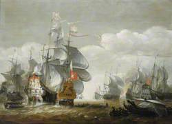 The Battle of Lowestoft, 3 June 1665, Showing  HMS 'Royal Charles' and the 'Eendracht'