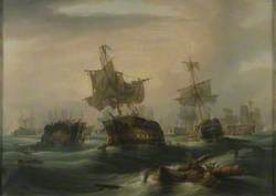 The Battle of Trafalgar, 21 October 1805: Position of the Fleets at 4.30pm