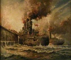 HMS 'Vindictive' at Zeebrugge, 23 April 1918