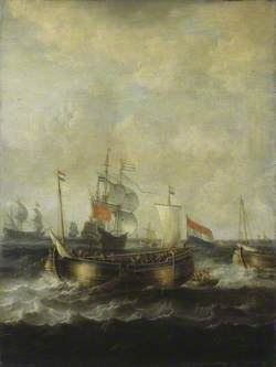 Dutch Indiamen Passing Herring Busses