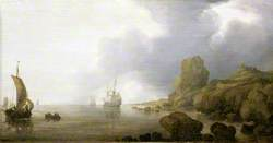Ships Becalmed on a Rocky Coast