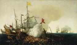 Spanish Men-of-War Engaging Barbary Corsairs