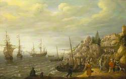 Dutch Ships at Anchor off a Fortified Scandinavian Town