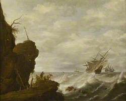 A Dutch Ship in a Breeze off a Rocky Coast