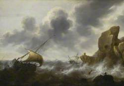 A Fishing Boat off a Rocky Coast in a Storm with a Wreck