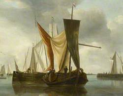 Dutch Fishing Boats Becalmed near a Jetty