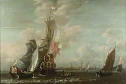 A Middelburg Ship Lying off Middelburg