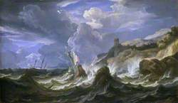 A Ship Wrecked in a Storm off a Rocky Coast