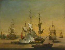 A Shipping Scene in the Lower Thames, about 1720
