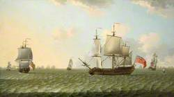 An East Indiaman in Stays, with a Fleet Chase Beyond