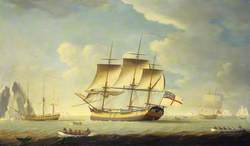 A Whaler and Other Vessels in a Light Breeze