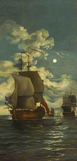 Moonlight Scene: Ships Saluting